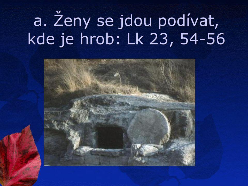 a. Ženy se jdou podívat, kde je hrob: Lk 23, 54-56