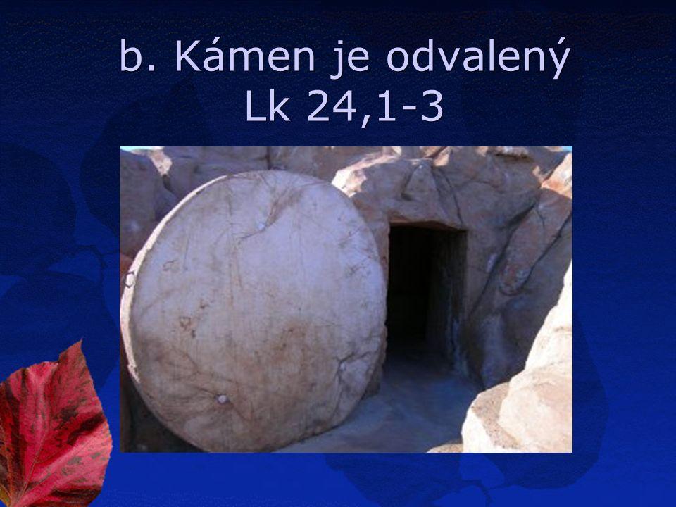 b. Kámen je odvalený Lk 24,1-3