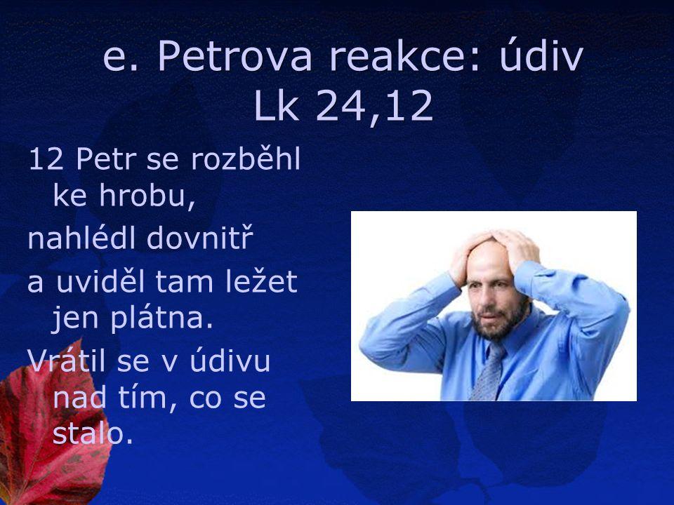 e. Petrova reakce: údiv Lk 24,12 12 Petr se rozběhl ke hrobu, nahlédl dovnitř a uviděl tam ležet jen plátna. Vrátil se v údivu nad tím, co se stalo.