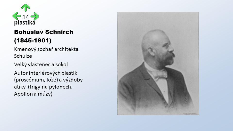 plastika Bohuslav Schnirch (1845-1901) Kmenový sochař architekta Schulze Velký vlastenec a sokol Autor interiérových plastik (proscénium, lóže) a výzdoby atiky (trigy na pylonech, Apollon a múzy) 14
