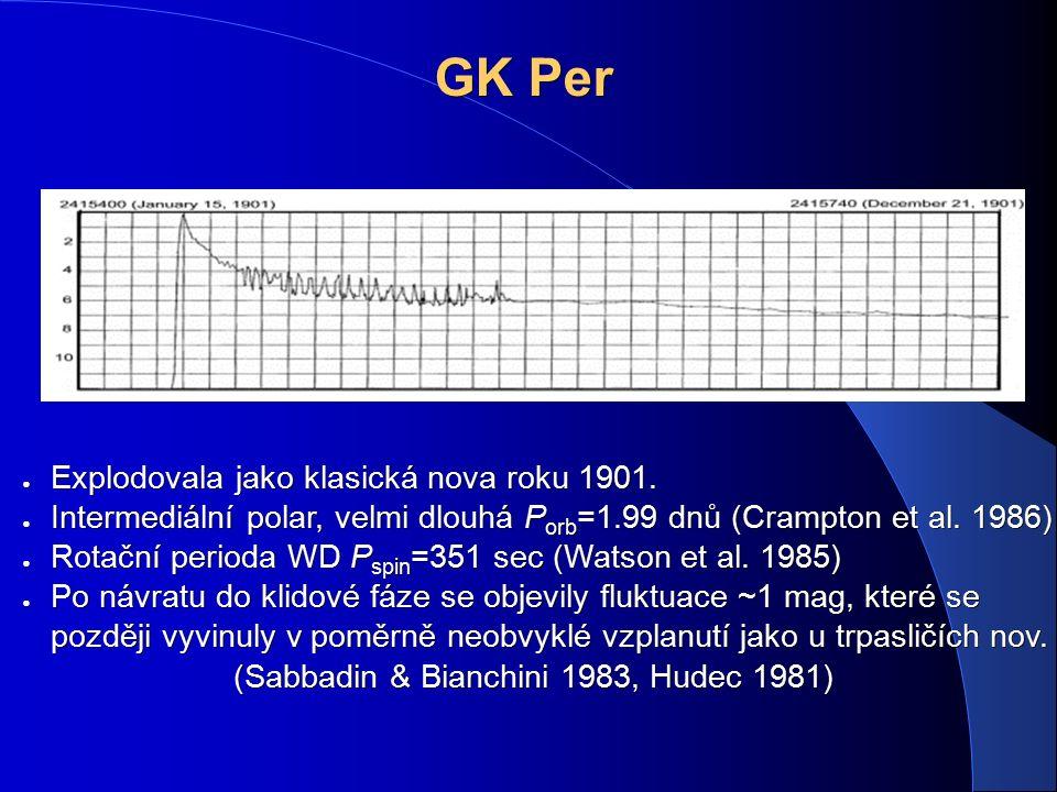 GK Per ● Explodovala jako klasická nova roku 1901. ● Intermediální polar, velmi dlouhá P orb =1.99 dnů (Crampton et al. 1986) ● Rotační perioda WD P s