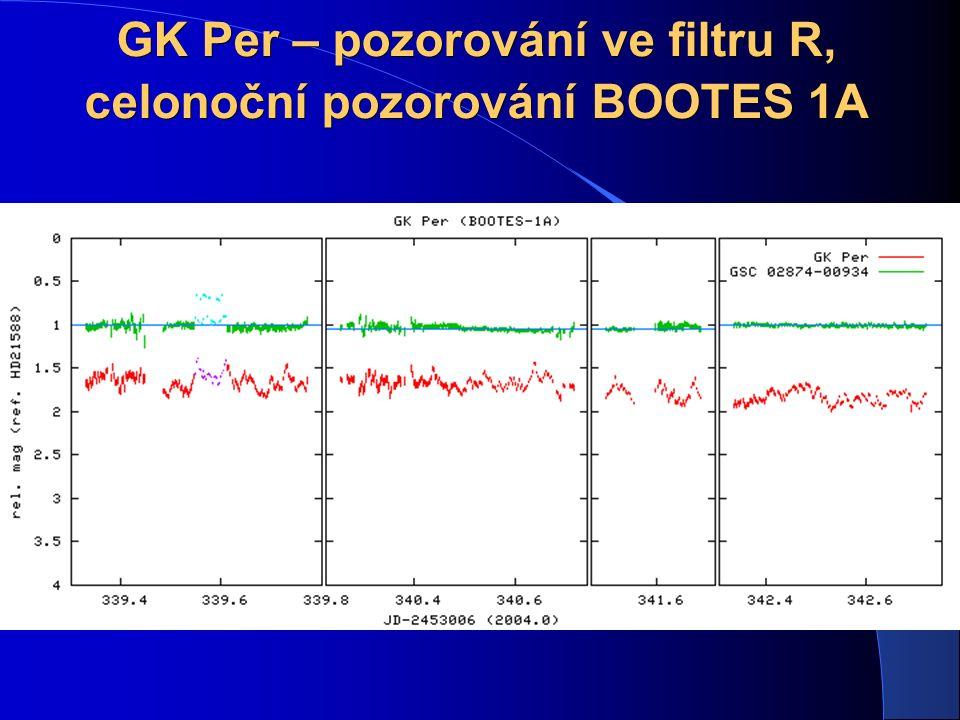 GK Per – pozorování ve filtru R, celonoční pozorování BOOTES 1A