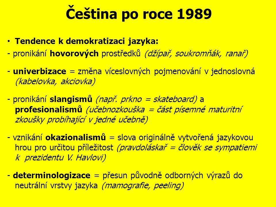 Čeština po roce 1989 Jiným znakem intelektualizace jazyka je přejímání slov a sou- sloví v souvislosti s novými reáliemi, přičemž zdrojovým jazykem je angličtina: např.