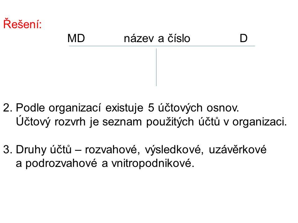 Řešení: MD název a číslo D 2. Podle organizací existuje 5 účtových osnov.