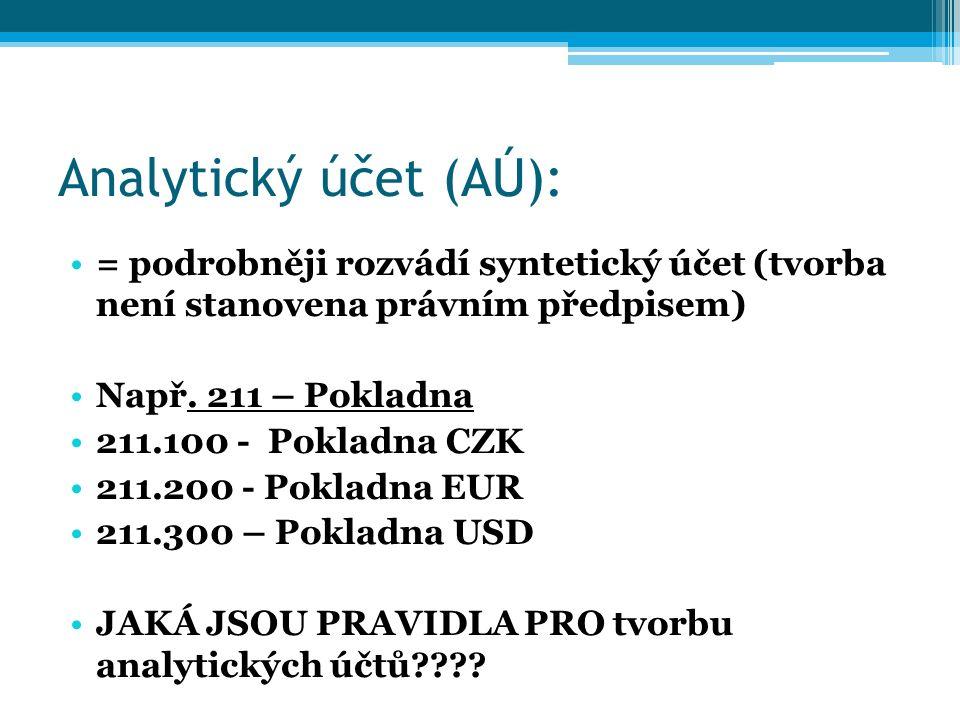 Analytický účet (AÚ): = podrobněji rozvádí syntetický účet (tvorba není stanovena právním předpisem) Např.
