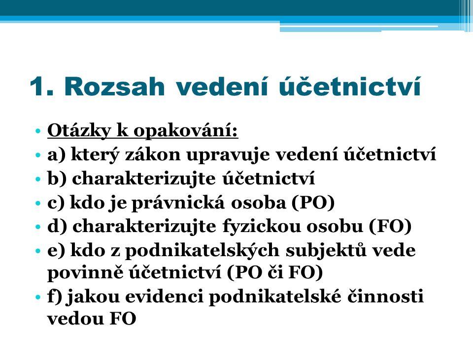 g) může vést fyzická osoba účetnictví (za jakých podmínek) h) kde se registrují PO ch) kde se registrují FO