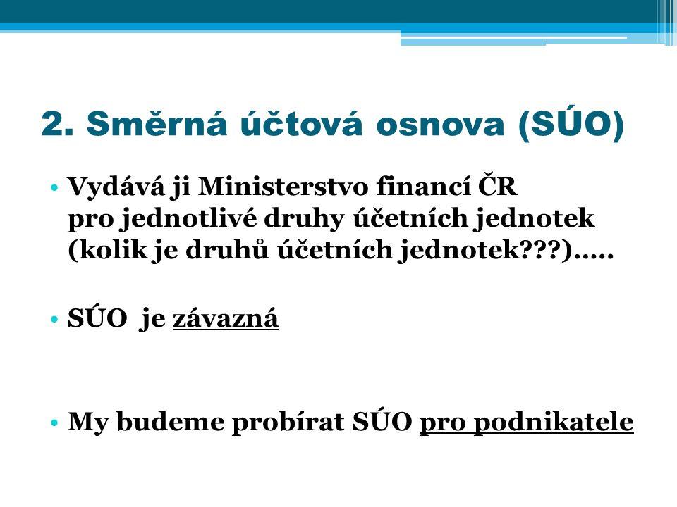 2. Směrná účtová osnova (SÚO) Vydává ji Ministerstvo financí ČR pro jednotlivé druhy účetních jednotek (kolik je druhů účetních jednotek???)….. SÚO je