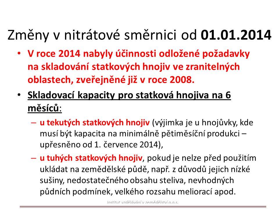 Změny v nitrátové směrnici od 01.01.2014 V roce 2014 nabyly účinnosti odložené požadavky na skladování statkových hnojiv ve zranitelných oblastech, zveřejněné již v roce 2008.