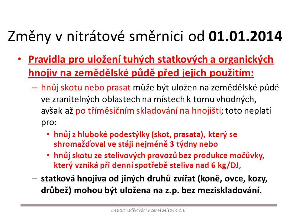 Změny v nitrátové směrnici od 01.01.2014 Pravidla pro uložení tuhých statkových a organických hnojiv na zemědělské půdě před jejich použitím: – hnůj s