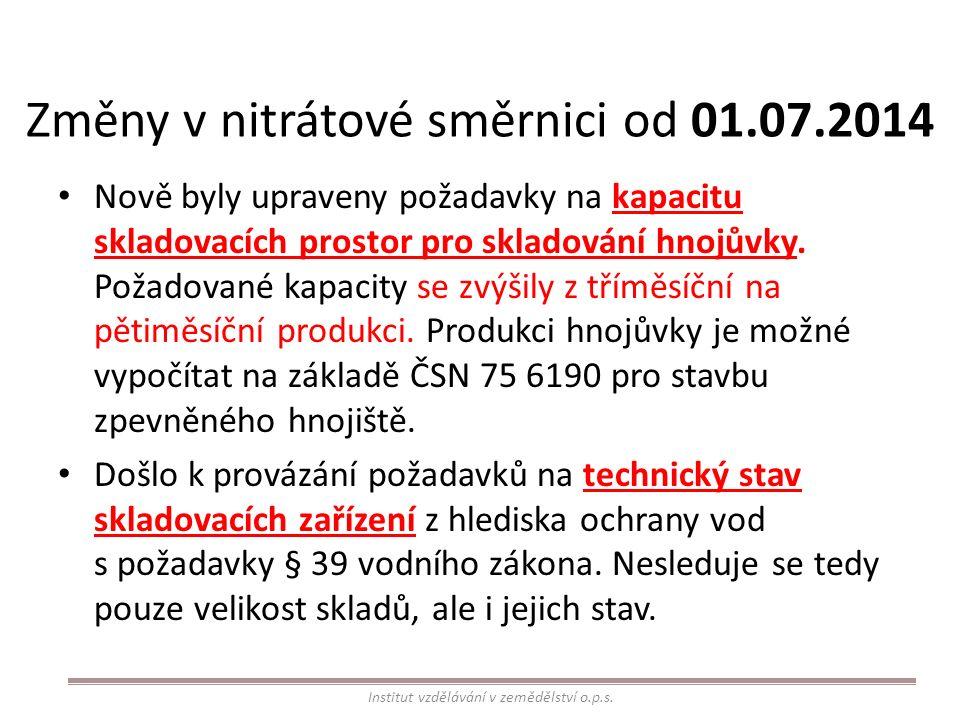Změny v nitrátové směrnici od 01.07.2014 Nově byly upraveny požadavky na kapacitu skladovacích prostor pro skladování hnojůvky.