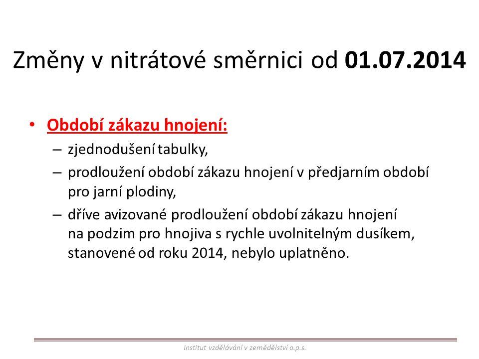 Změny v nitrátové směrnici od 01.07.2014 Období zákazu hnojení: – zjednodušení tabulky, – prodloužení období zákazu hnojení v předjarním období pro ja