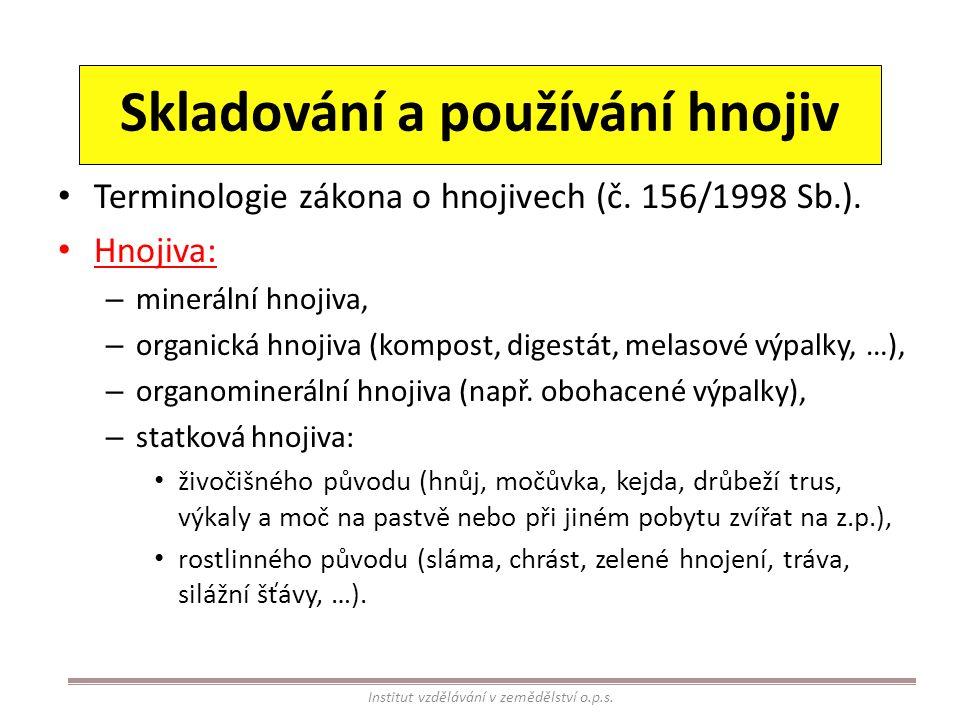 Skladování a používání hnojiv Terminologie zákona o hnojivech (č. 156/1998 Sb.). Hnojiva: – minerální hnojiva, – organická hnojiva (kompost, digestát,