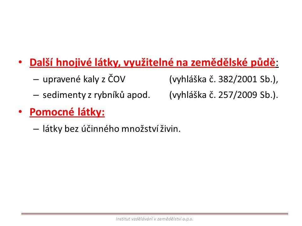 Další hnojivé látky, využitelné na zemědělské půdě: – upravené kaly z ČOV(vyhláška č. 382/2001 Sb.), – sedimenty z rybníků apod.(vyhláška č. 257/2009