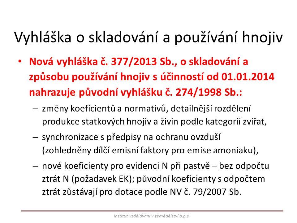 Vyhláška o skladování a používání hnojiv Nová vyhláška č. 377/2013 Sb., o skladování a způsobu používání hnojiv s účinností od 01.01.2014 nahrazuje pů