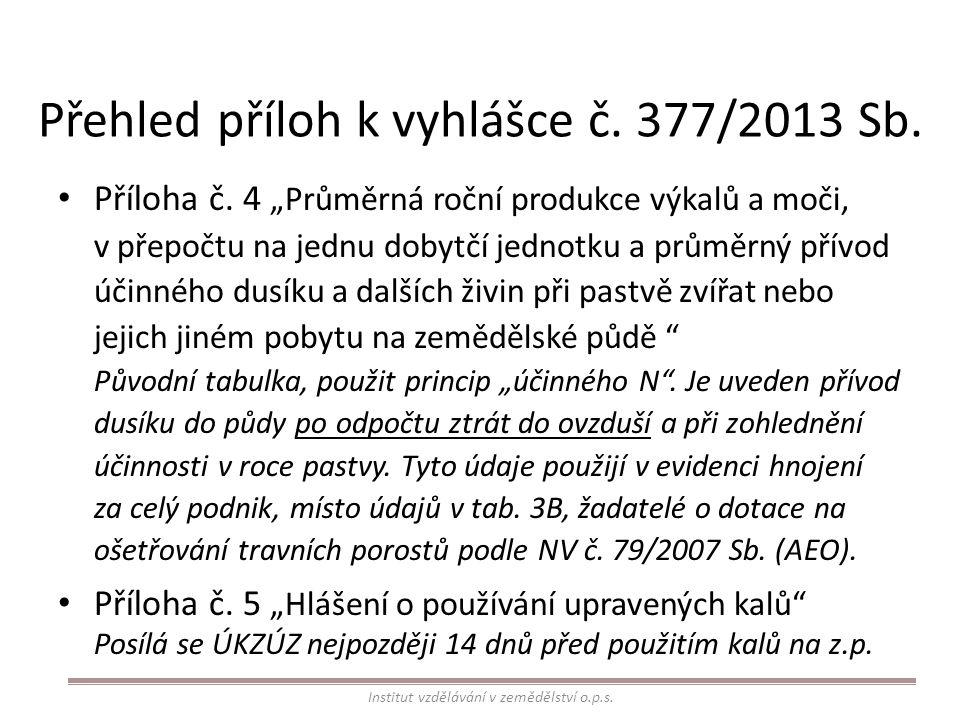 Přehled příloh k vyhlášce č. 377/2013 Sb. Příloha č.