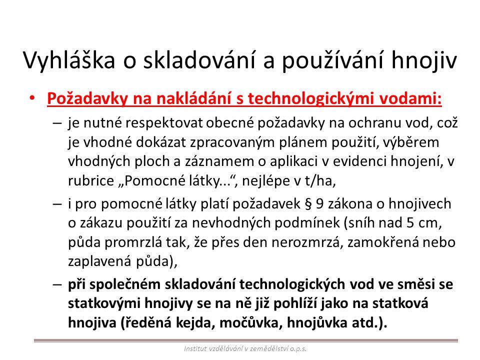 Vyhláška o skladování a používání hnojiv Požadavky na nakládání s technologickými vodami: – je nutné respektovat obecné požadavky na ochranu vod, což
