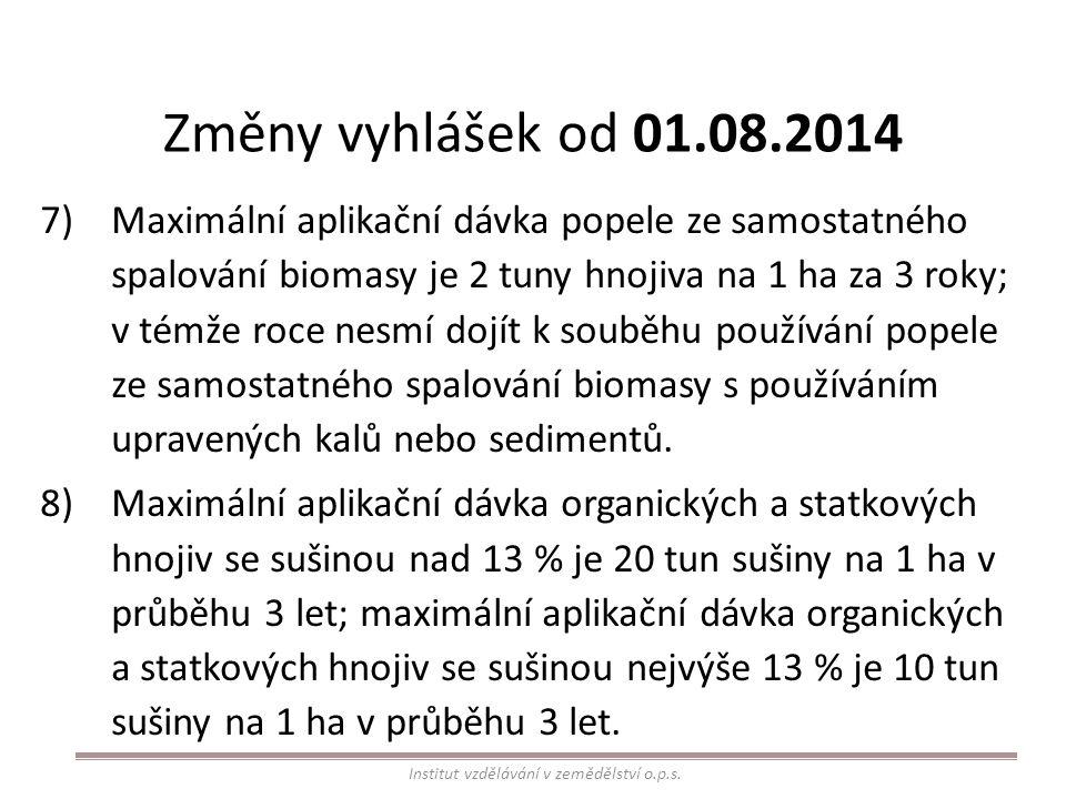 Změny vyhlášek od 01.08.2014 7)Maximální aplikační dávka popele ze samostatného spalování biomasy je 2 tuny hnojiva na 1 ha za 3 roky; v témže roce ne