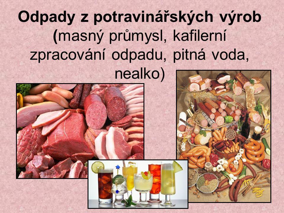 Odpady z potravinářských výrob (masný průmysl, kafilerní zpracování odpadu, pitná voda, nealko)