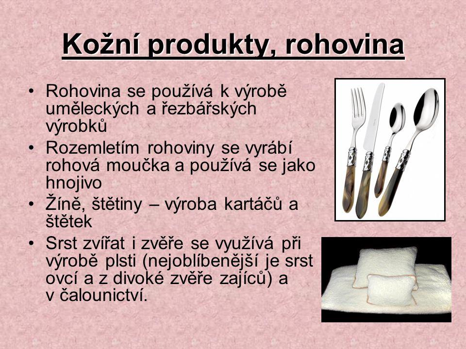Kožní produkty, rohovina Rohovina se používá k výrobě uměleckých a řezbářských výrobků Rozemletím rohoviny se vyrábí rohová moučka a používá se jako h