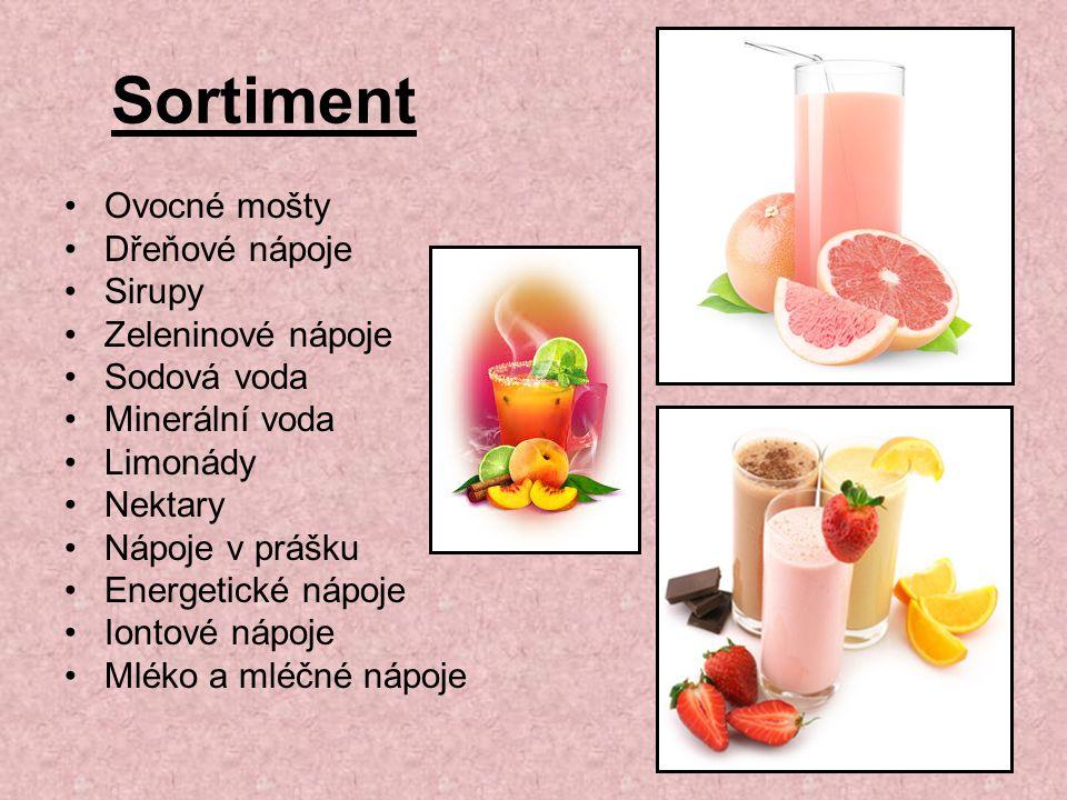 Sortiment Ovocné mošty Dřeňové nápoje Sirupy Zeleninové nápoje Sodová voda Minerální voda Limonády Nektary Nápoje v prášku Energetické nápoje Iontové