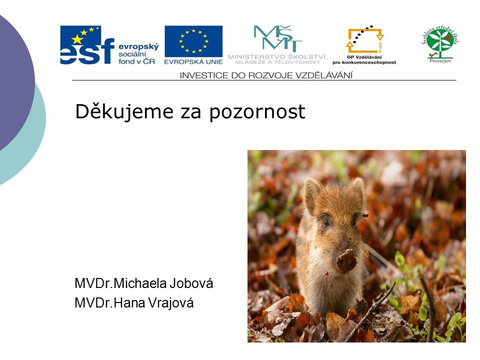 Děkujeme za pozornost MVDr.Michaela Jobová MVDr.Hana Vrajová