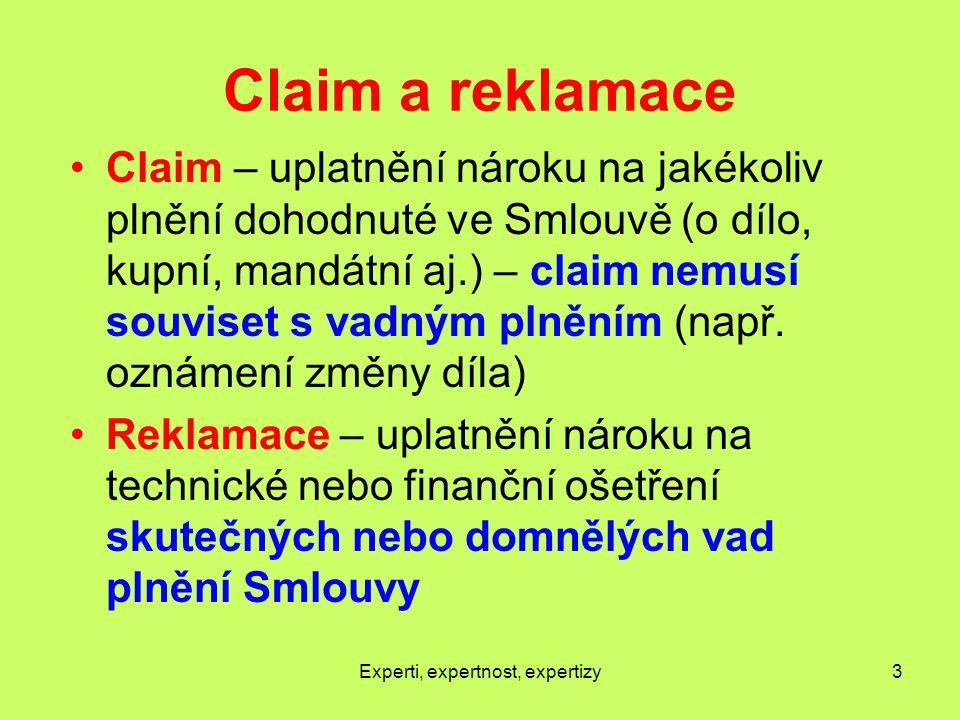 Claim a reklamace Claim – uplatnění nároku na jakékoliv plnění dohodnuté ve Smlouvě (o dílo, kupní, mandátní aj.) – claim nemusí souviset s vadným plněním (např.