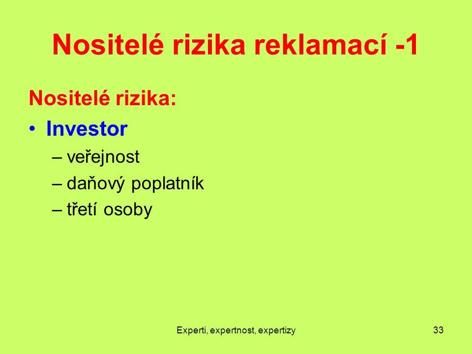 Nositelé rizika reklamací -1 Nositelé rizika: Investor –veřejnost –daňový poplatník –třetí osoby Experti, expertnost, expertizy33