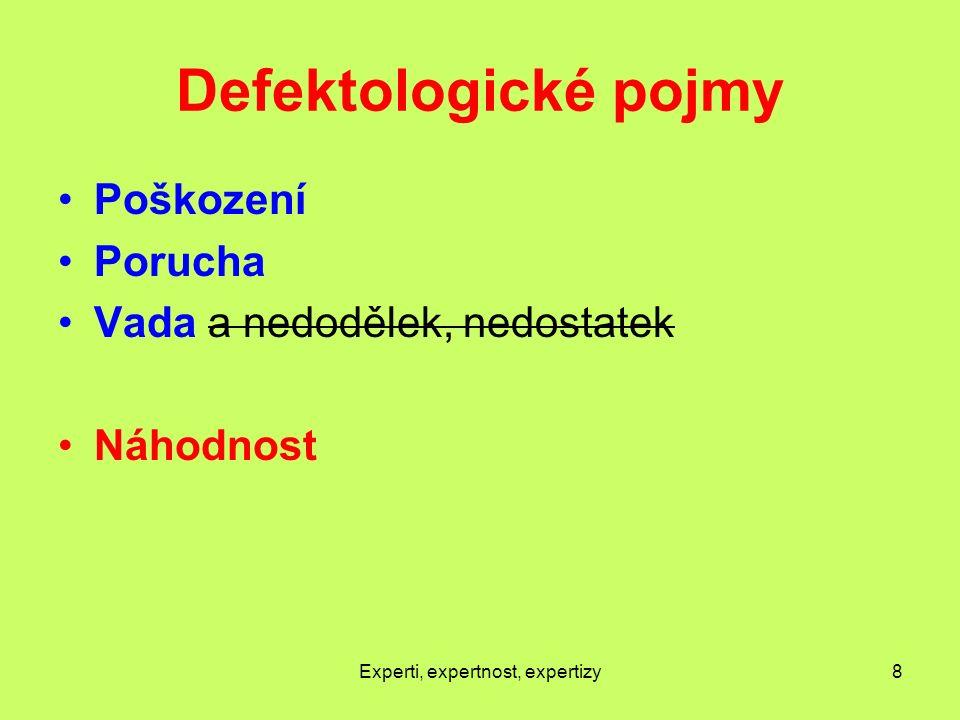 Defektologické pojmy Poškození Porucha Vada a nedodělek, nedostatek Náhodnost Experti, expertnost, expertizy8