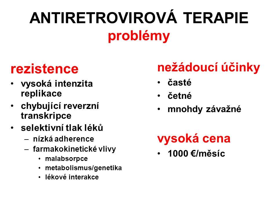 ANTIRETROVIROVÁ TERAPIE problémy rezistence vysoká intenzita replikace chybující reverzní transkripce selektivní tlak léků –nízká adherence –farmakoki