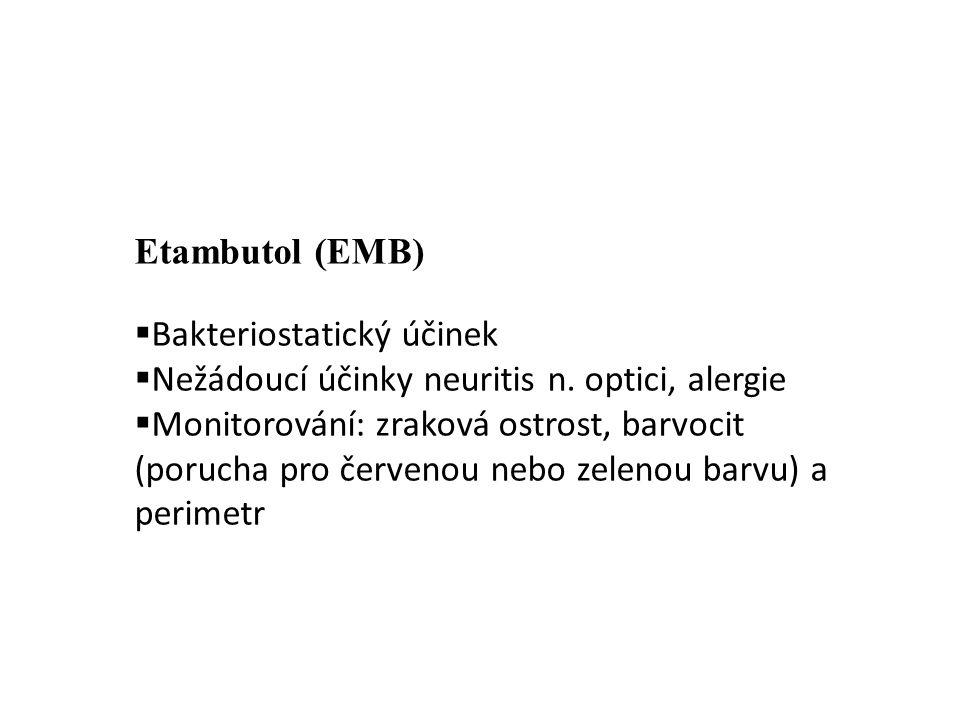 Etambutol (EMB)  Bakteriostatický účinek  Nežádoucí účinky neuritis n. optici, alergie  Monitorování: zraková ostrost, barvocit (porucha pro červen