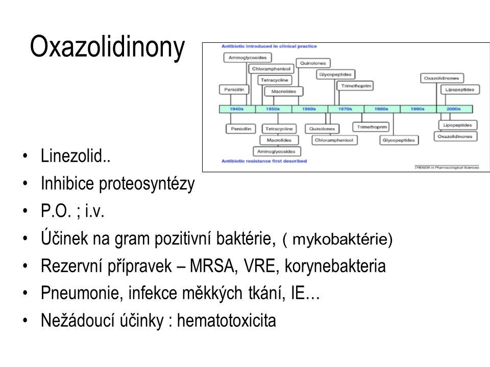 Oxazolidinony Linezolid.. Inhibice proteosyntézy P.O. ; i.v. Účinek na gram pozitivní baktérie, ( mykobaktérie) Rezervní přípravek – MRSA, VRE, koryne