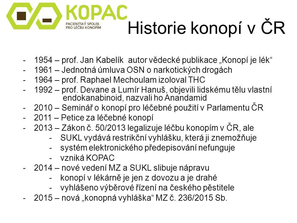 """Historie konopí v ČR -1954 – prof. Jan Kabelík autor vědecké publikace """"Konopí je lék"""" -1961 – Jednotná úmluva OSN o narkotických drogách -1964 – prof"""