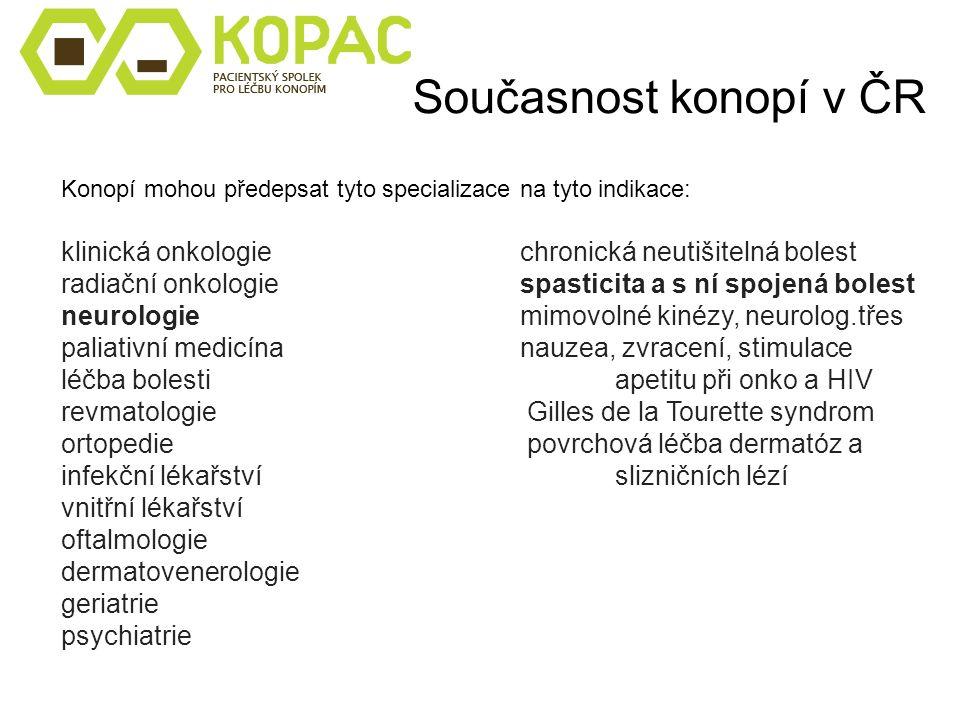Současnost konopí v ČR Konopí mohou předepsat tyto specializace na tyto indikace: klinická onkologiechronická neutišitelná bolest radiační onkologiesp