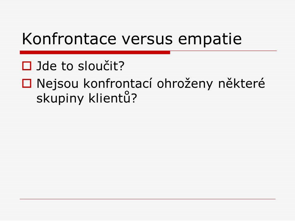 Konfrontace versus empatie  Jde to sloučit  Nejsou konfrontací ohroženy některé skupiny klientů