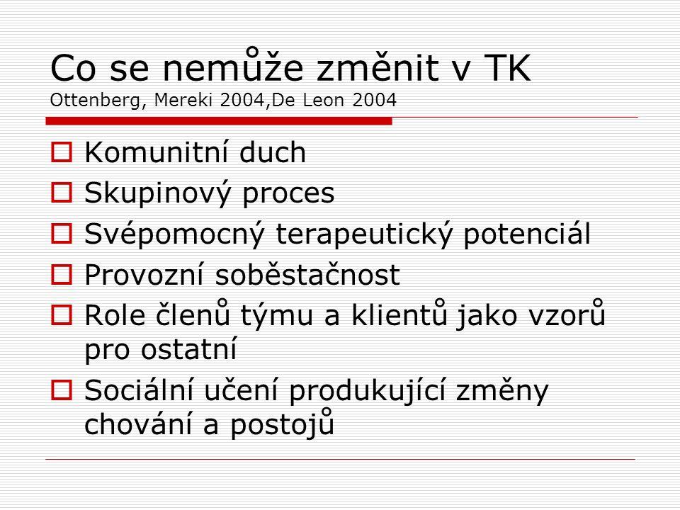 Co se nemůže změnit v TK Ottenberg, Mereki 2004,De Leon 2004  Komunitní duch  Skupinový proces  Svépomocný terapeutický potenciál  Provozní soběstačnost  Role členů týmu a klientů jako vzorů pro ostatní  Sociální učení produkující změny chování a postojů