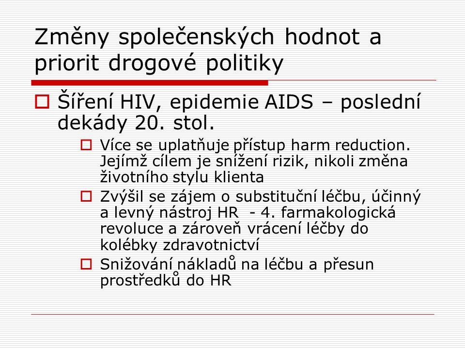 Změny společenských hodnot a priorit drogové politiky  Šíření HIV, epidemie AIDS – poslední dekády 20.