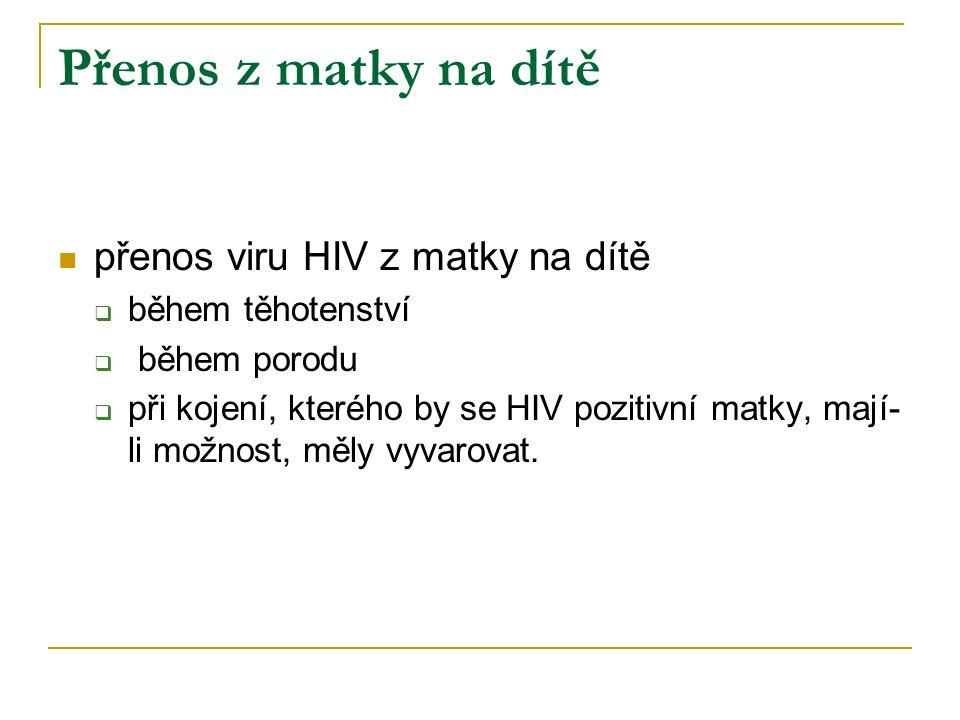 Přenos z matky na dítě přenos viru HIV z matky na dítě  během těhotenství  během porodu  při kojení, kterého by se HIV pozitivní matky, mají- li mo