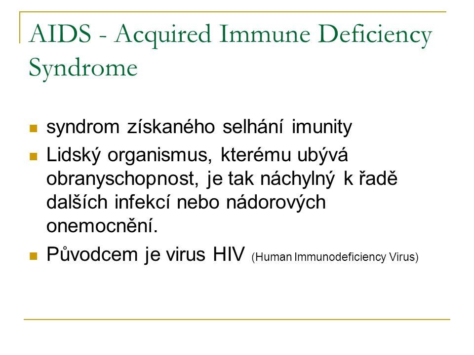 AIDS - Acquired Immune Deficiency Syndrome syndrom získaného selhání imunity Lidský organismus, kterému ubývá obranyschopnost, je tak náchylný k řadě dalších infekcí nebo nádorových onemocnění.