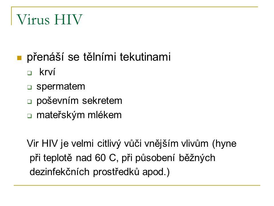 Virus HIV přenáší se tělními tekutinami  krví  spermatem  poševním sekretem  mateřským mlékem Vir HIV je velmi citlivý vůči vnějším vlivům (hyne při teplotě nad 60 C, při působení běžných dezinfekčních prostředků apod.)