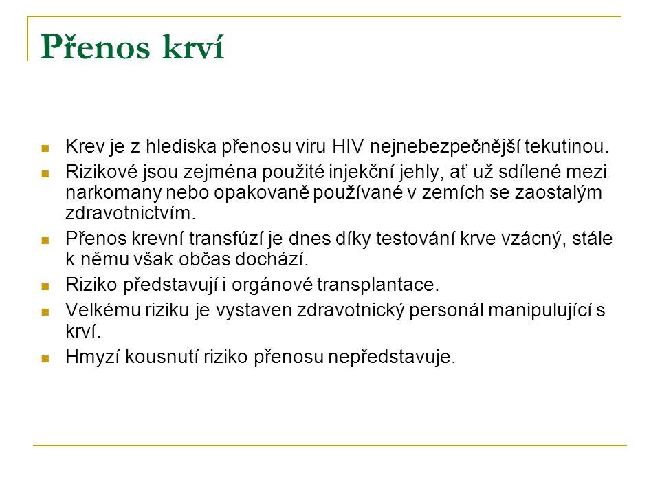 Přenos krví Krev je z hlediska přenosu viru HIV nejnebezpečnější tekutinou.