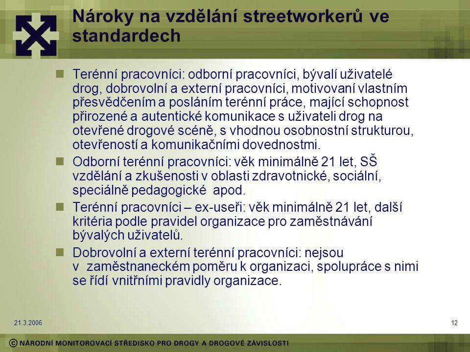 21.3.200612 Nároky na vzdělání streetworkerů ve standardech Terénní pracovníci: odborní pracovníci, bývalí uživatelé drog, dobrovolní a externí pracovníci, motivovaní vlastním přesvědčením a posláním terénní práce, mající schopnost přirozené a autentické komunikace s uživateli drog na otevřené drogové scéně, s vhodnou osobnostní strukturou, otevřeností a komunikačními dovednostmi.