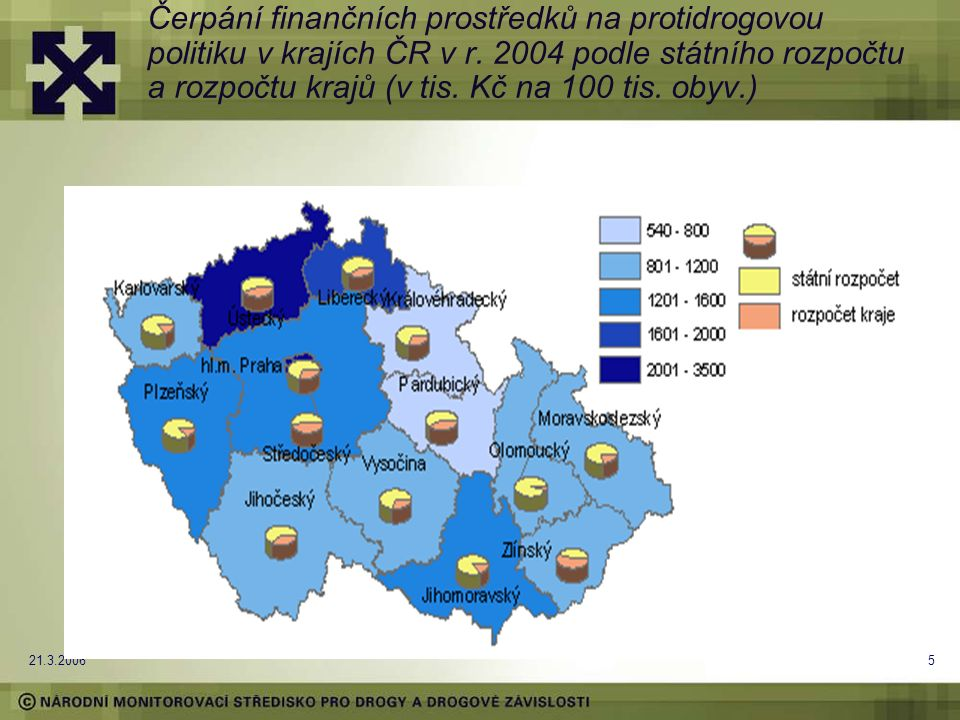 21.3.20065 Čerpání finančních prostředků na protidrogovou politiku v krajích ČR v r. 2004 podle státního rozpočtu a rozpočtu krajů (v tis. Kč na 100 t