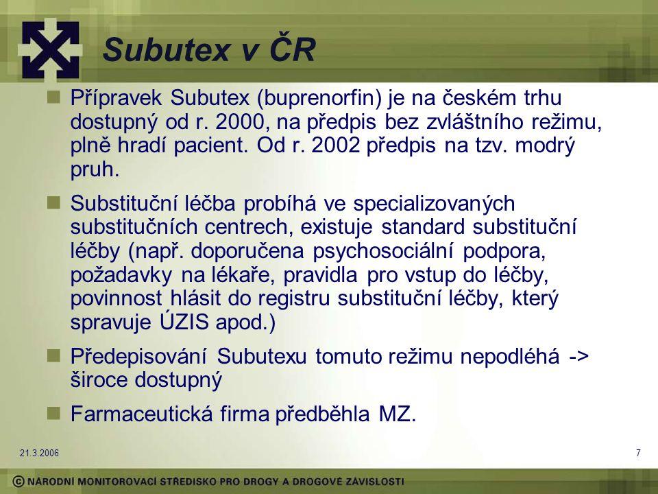 21.3.20067 Subutex v ČR Přípravek Subutex (buprenorfin) je na českém trhu dostupný od r. 2000, na předpis bez zvláštního režimu, plně hradí pacient. O