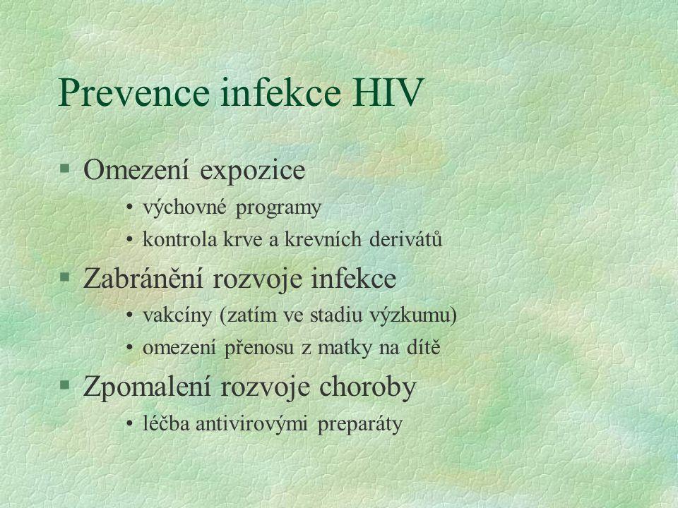 Prevence infekce HIV §Omezení expozice výchovné programy kontrola krve a krevních derivátů §Zabránění rozvoje infekce vakcíny (zatím ve stadiu výzkumu) omezení přenosu z matky na dítě §Zpomalení rozvoje choroby léčba antivirovými preparáty