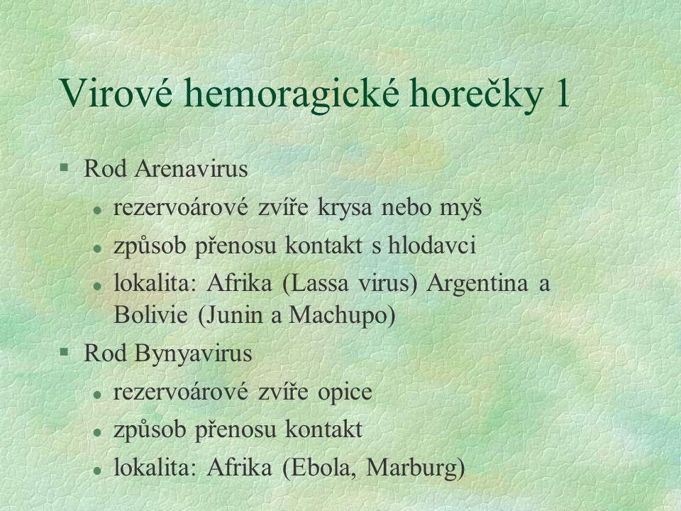 Virové hemoragické horečky 1 §Rod Arenavirus l rezervoárové zvíře krysa nebo myš l způsob přenosu kontakt s hlodavci l lokalita: Afrika (Lassa virus) Argentina a Bolivie (Junin a Machupo) §Rod Bynyavirus l rezervoárové zvíře opice l způsob přenosu kontakt l lokalita: Afrika (Ebola, Marburg)