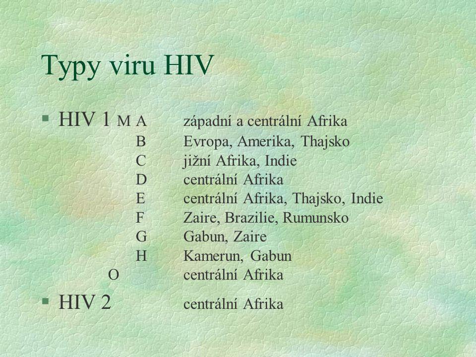 Typy viru HIV §HIV 1 MAzápadní a centrální Afrika BEvropa, Amerika, Thajsko Cjižní Afrika, Indie Dcentrální Afrika Ecentrální Afrika, Thajsko, Indie FZaire, Brazilie, Rumunsko GGabun, Zaire HKamerun, Gabun Ocentrální Afrika §HIV 2 centrální Afrika