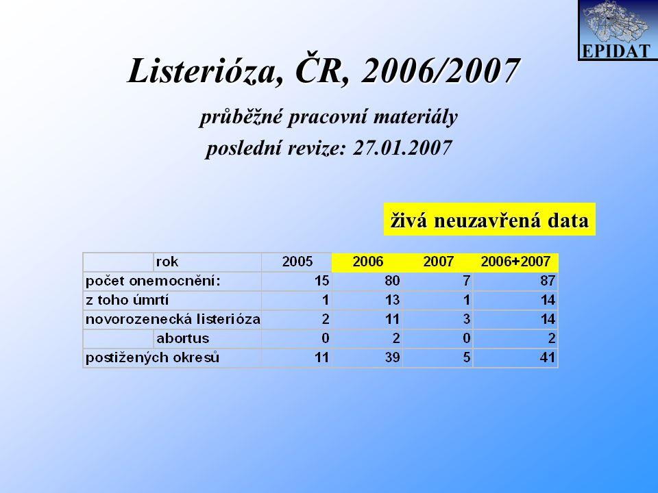 Listerióza, ČR, 2006/2007 průběžné pracovní materiály poslední revize: 27.01.2007 živá neuzavřená data