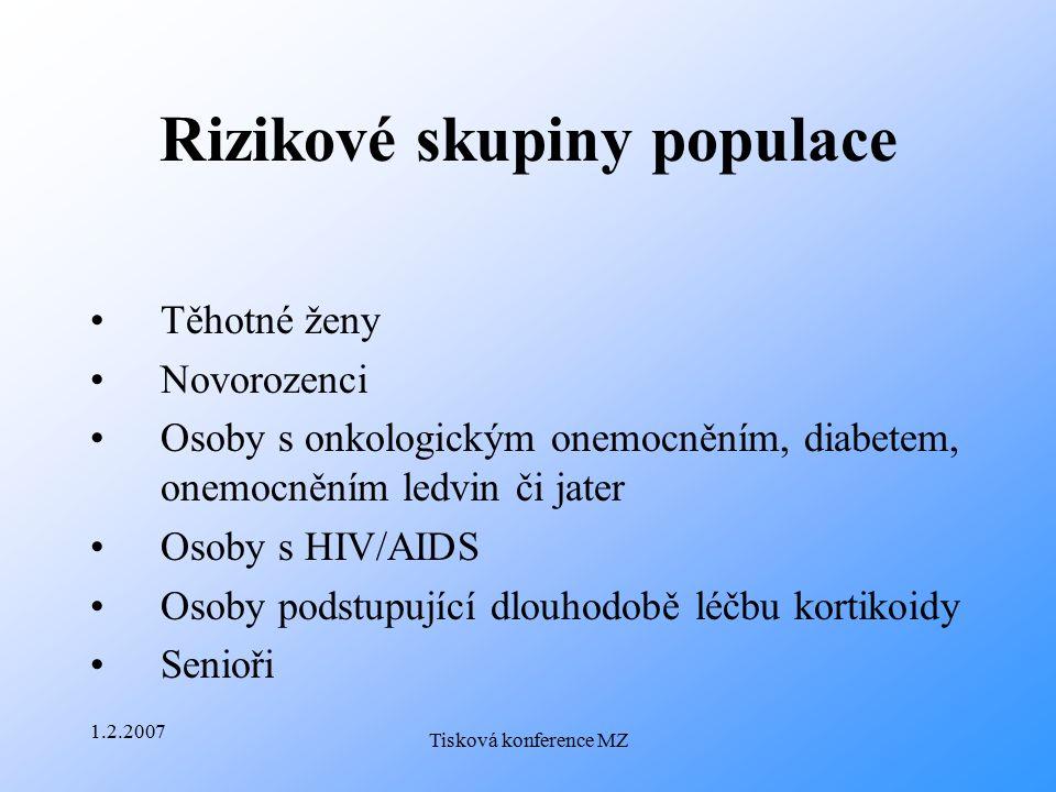 1.2.2007 Tisková konference MZ Rizikové skupiny populace Těhotné ženy Novorozenci Osoby s onkologickým onemocněním, diabetem, onemocněním ledvin či ja