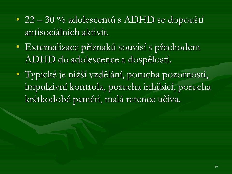 22 – 30 % adolescentů s ADHD se dopouští antisociálních aktivit.22 – 30 % adolescentů s ADHD se dopouští antisociálních aktivit.