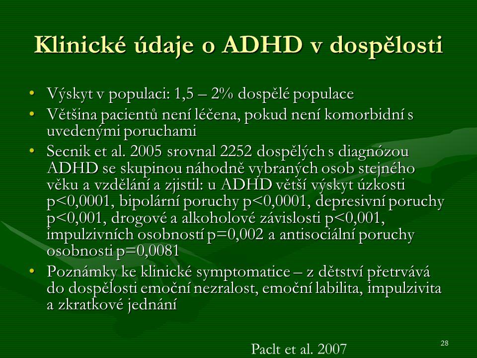 28 Klinické údaje o ADHD v dospělosti Výskyt v populaci: 1,5 – 2% dospělé populaceVýskyt v populaci: 1,5 – 2% dospělé populace Většina pacientů není léčena, pokud není komorbidní s uvedenými poruchamiVětšina pacientů není léčena, pokud není komorbidní s uvedenými poruchami Secnik et al.
